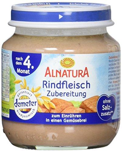 Alnatura Demeter Bio Rindfleischzubereitung, glutenfrei, 6er Pack (6 x 125 g)