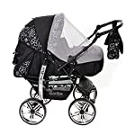 3-in-1 Travel System with Baby Pram, Car Seat, Pushchair & Accessories, Black Flowers  3-in-1 Travel System with Baby Pram, Car Seat, Pushchair & Accessories, Black Flowers 51Feph144eL