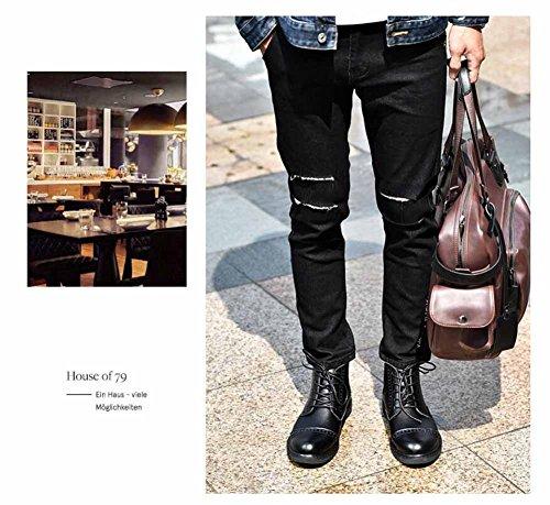 Uomini Chelsea Stivali 2017 Autunno Inverno Moda Pelle Scarpe Scarpone Allacciare Casuale Piatto Scarpe Black