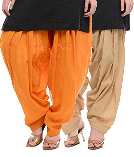 NGT Orange And Beige Pure Cotton Patialas For Womens