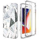 SURITCH Compatible con Funda iPhone 7/8 Silicona 360 Grados Marmol Ultra Fina Oro Rosa Bumper Flexible TPU Elegante Delantera y Trasera Irrompible Anti Choque Caso Carcasa iPhone 8/7 - Geometria