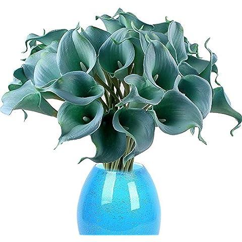 TININNA Látex real Touch realista Artificial flor de la cala Ramo de la boda de la flor Ramos Manojo Azul