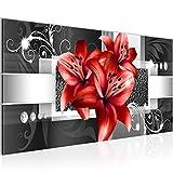 Bilder Blumen Lilien Wandbild Vlies - Leinwand Bild XXL Format Wandbilder Wohnzimmer Wohnung Deko Kunstdrucke Rot 1 Teilig - MADE IN GERMANY - Fertig zum Aufhängen 008612c