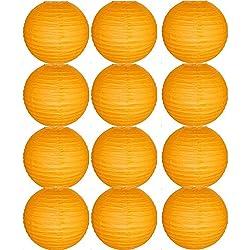Farolillos para boda color naranja. Distintos tamaños. 12 unidades.
