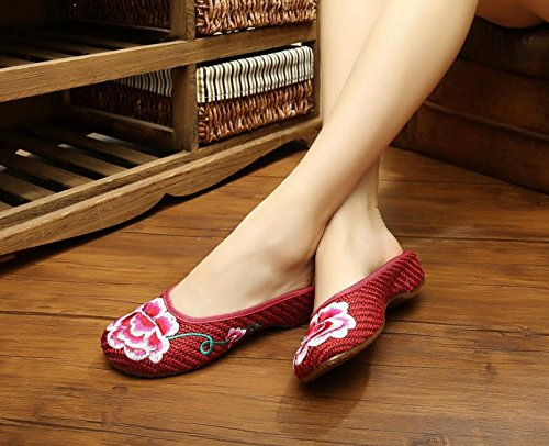 ZQ Pfingstrose bestickte Schuhe, Sehnensohle, ethnischer Stil, weiblicher Flip Flop, Mode, bequem, Sandalen , red , 40