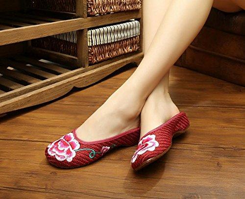ZLL scarpe Peony ricamati, suola tendine, stile etnico, femmina flip flop, moda, comodi, sandali red wine