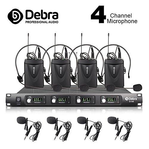 Debra Audio D-140 UHF 4-Kanal Kabelloses Mikrofon-System aus Metall mit 4 Lavalier und 4 Headset Mic Verwendung für die Phase Familienfeier, Kirche, kleine Karaoke-Nacht (EU-Stecker)