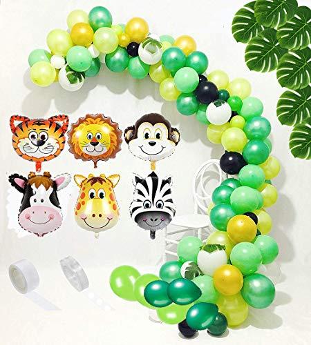 Dschungel-Safari-Party-Dekoration: Latex-Luftballons, Mini-Tier-Mylar-Luftballons, grüne Palmenblätter mit Ballon-Punkt-Kleber für Kindergeburtstag, Wilde One Baby Shower Dekorationen