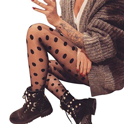 VENMO Frauen Sexy Mesh Polka Dot Perspektive Gaze Leggings Reizwäsche Bodystocking Perspektive Netzgarn Strumpfhose Open Crotch Strumpf Unterwäschen Hohle Blumen Bodysuit Nachtwäsche (Sexy Schwarz) (Hose Leggings Dot Polka)