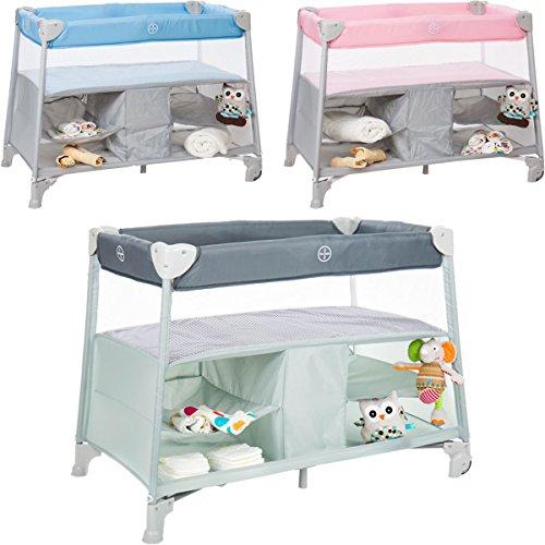 Babybettchen / Reisebett (Mit Matratze und Transporttasche) Erhöhte Liegefläche (Bis 10 KG) Ideal für Reisen (HELLBLAU)
