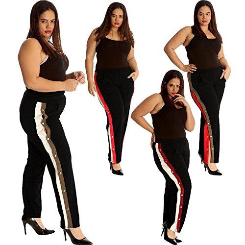 21FASHION Contrast Striped Split Popper Panel Trouser Womens Wide Leg Side Button Palazzo