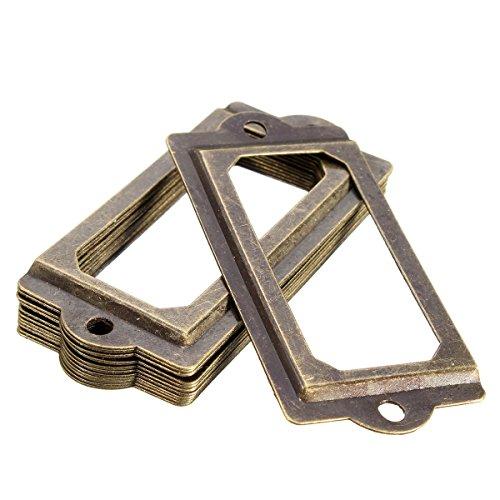 DyNamic 12pcs antikes Messing-Metall-Etikett Pull-Frame-Datei-Name-Karte Halter für Möbel Schrank Schublade Gehäuse -