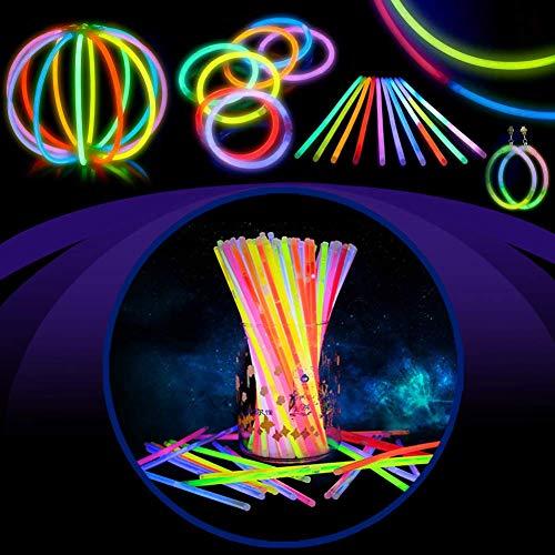 Imagen de barras luminosas, hieha 200 piezas glow sticks para fiesta 20cm 7 colores con conectores varitas luminosas fluorescentes kits para crear gafas/pulseras/collares/flores/pendientes alternativa
