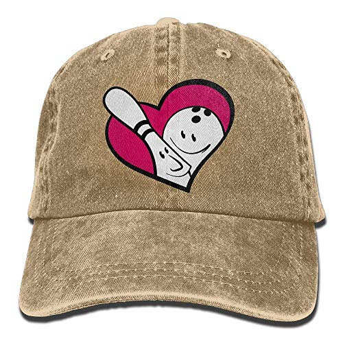 vbcnmbnv Bowling in Heart Denim Hat Adjustable Unisex Fitted Baseball Hat - Bowling-jersey