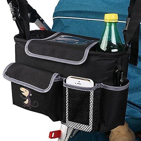 Viflykoo Sac Pochette de Rangement pour Poussette Sac Organisateur pour Landau Poussette Stroller Storage Bags - Noir