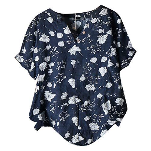 routinfly Frauen Kurzarm T-Shirt,Kurzärmliges Oberteil mit Knopf und V-Ausschnitt Vintage-Top aus bedruckter Baumwolle und Leinen Vintage Top mit Blumendruck M-5XL -