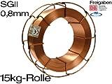 Schweissdraht SG2 0,8mm 15 kg Schutzgas MIG MAG G3Si1 NEU 15kg Rolle SGII