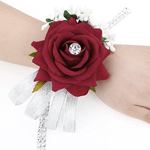 Rosen Blumen Handgelenk Corsage Silber Bling Band Strass Stretch Armband Hochzeit (Blume Corsage)
