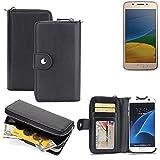 K-S-Trade 2in1 Handyhülle für Lenovo Moto G5 Single-SIM hochwertige Schutzhülle & Portemonnee Tasche Handytasche Etui Geldbörse Wallet Case Hülle schwarz