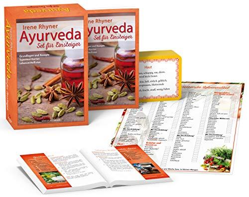 Ayurveda - Set für Einsteiger: Set mit Buch, 71 Karten u. 6 Einkaufslisten (Ayurveda Typen, Ayurvedische Rezepte)