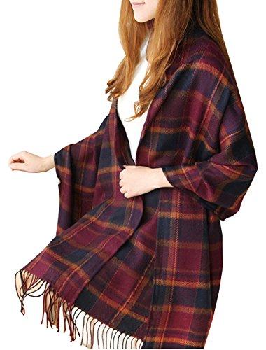 Wander Agio Women's Fashion Long Scarves Winter Warm Lattice Large Striped Scarf Shawl Purple