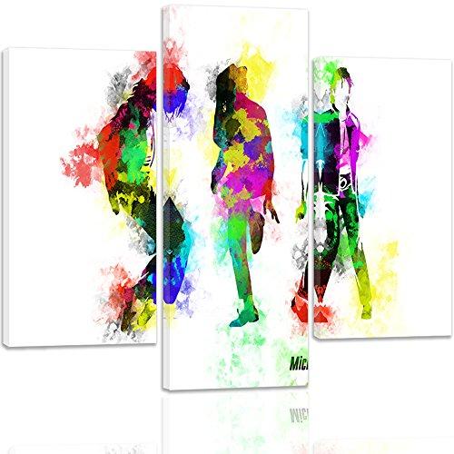 Feeby. Leinwandbild - 3 Teile - Bilder, Wand Bild, Wandbilder, Kunstdruck, 3-Teilig, Typ A, 120x100 cm, MICHAEL JACKSON, MUSIK, MANN, POP, MULTICOLOUR