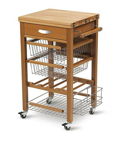 ARREDAMENTI ITALIA Küchenwagen GASTONE, Holz - Bestückte Arbeitsfläche - Ausklappbar - Farbe: Kirsche Holz AR-It il Cuore del Legno (Kirsche-holz-küche-tisch)
