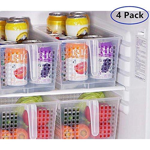 minedecor Griff Küche Organizer Korb Set Frischhaltedosen Großer Organisation für Kühlschrank Kühlschrank Regal Schrank Schreibtisch (Set von 4Organisatoren) -
