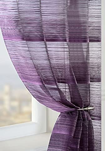 PURPLE PLUM Voile Panel Fine Stripe Semi Sheer Curtain Window Size: 150x230cm/59x90 by Showpiece Curtains and Voiles