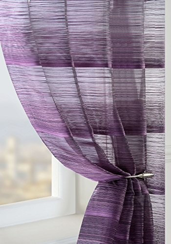PURPLE PLUM Voile Panel Fine Stripe Semi Sheer Curtain Window Size: 150x230cm/59×90