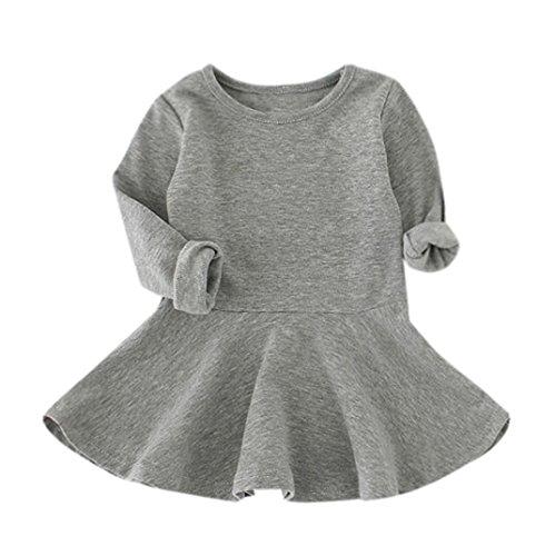 Vestidos niña, ASHOP Vestido de niñas Boda Fiesta de Princesa en Oferta Casual Sólido Manga Larga Falda Primavera Verano otoño Ropa para 0-4 años (98 (2-3años), Gris)