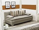 Schlafsofa Floris cappuccino 202x101 cm Sofa Bettkasten Funktionssofa Couch Kissen gestreift