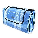 Schramm Picknickdecke Faltbar mit Tragegriff aus Fleece in 3 Farben 2 x 2m Stranddecke Outdoordecke Wasserfest und wärmeisolierend Campingdecke Picknickdecken, Farbe:Blau groß Kariert
