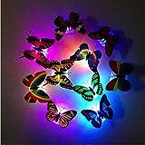 OHQ 20 LumièRes De Nuit Papillon Rougeoyantes CréAtives 20 Pcs Coloré Changeant Papillon Led Nuit LumièRe Lampe Salle À La Maison Partie Bureau Mur DéCor (20PC)