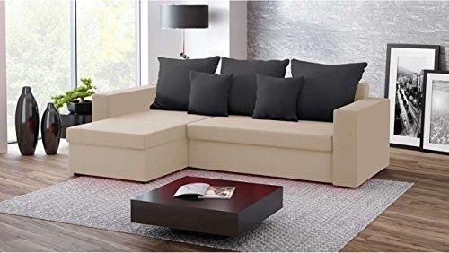 Justhome fresh iv divano angolare divano letto microfibra (lxlxa): 142x237x75 cm beige nero iii penisola a sinistra