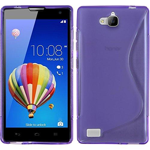 PhoneNatic Case kompatibel mit Huawei Honor 3C - lila Silikon Hülle S-Style + 2 Schutzfolien