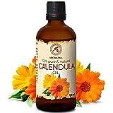 Aceite de Caléndula 100ml - Calendula Officinalis - 100% Puro y Natural - Botella de Cristal - Aceite Base - Cuidado Intensivo para el Rostro - Cabello - para la Piel Todo el Cuerpo