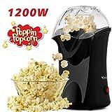 Hopekings Macchina per Popcorn Compatta, Cottura ad aria calda senza grassi, Design a Bocca Larga, 1200 W, include Misurino e Coperchio Rimovibile,Nero