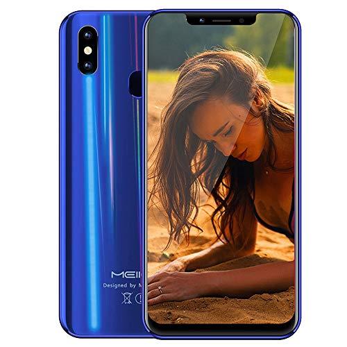 samLIKE Fingerabdruck Smartphone ohne Vertrag 4GB+32GB GSM 4G Android 8.1 Handy Octa-Core 6,18 Zoll, 16MP+5MP Dual-Kamera/Dual-SIM/Face ID/2160x1080P/5000mAh (Blau)