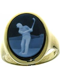 Derby Ring Gemme Achat Golfspieler 16 x 12 mm Kamee 14 Karat (585) Gelbgold