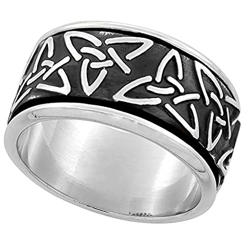 Sterling Silver Men's Spinner Ring Celtic Trinity Triquetra Pattern Handmade, Size R