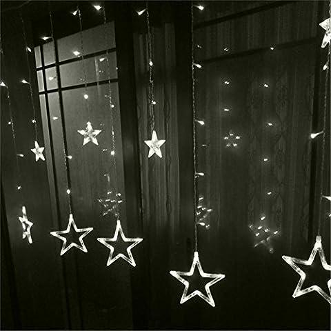 Christmas Lighting 2.5M romantischer feenhafter Stern 12 Kopf führte Vorhang-Schnur-Licht 4 Farben 220V Weihnachtshochzeits-Fenster-Dekoration , 5