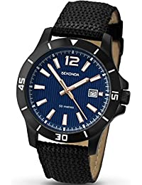 amazon co uk sekonda watches outlet watches sekonda mens blue dial ion plated black strap watch