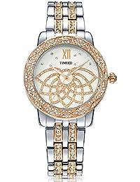 Time100 W80108L.01A Lujo Sweet Patrón de pétalo diamantes pulsera cuarzo Mujer Reloj de oro rosa