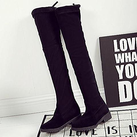 Para mujer Spritech™ chicas Fashion sobre de la rodilla talón plano diseño rodilla Botas Zapatos de muslo acanalado de alta, negro, US:7