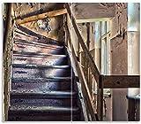 Wallario Herdabdeckplatte/Spritzschutz aus Glas, 2-teilig, 60x52cm, für Ceran- und Induktionsherde, Treppe in Einem Alten Haus