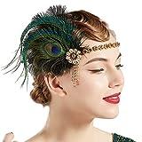 Coucoland 1920s - Fascia per capelli con piume di pavone, stile anni '20, da donna oro nero Taglia unica