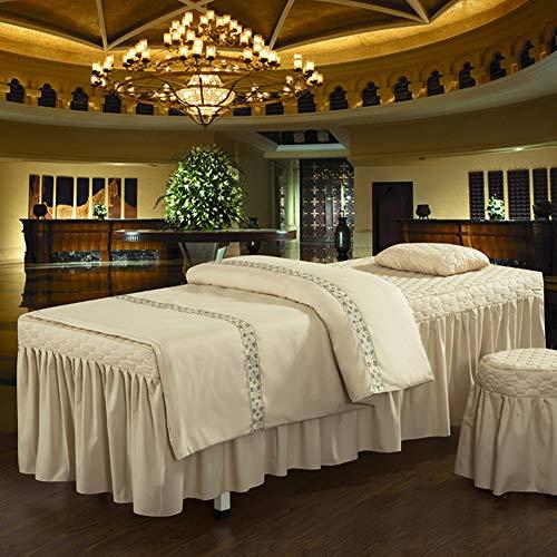 HAOLY Ensemble draps de lit beauté Lattice Massage Table Feuille définit lit matelassé Jupe européen Solide Couverture de lit 4 pièces Couleur Soft bedspre Respirante-G 70x185cm(28x73inch)