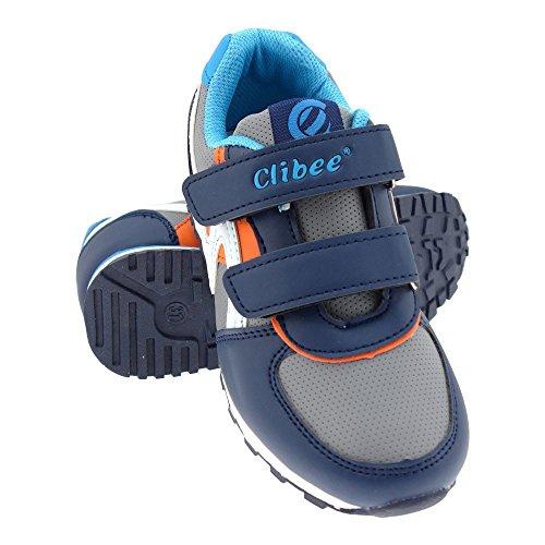 GALLUX - Mädchen Jungen Kinder Sneaker Sportschuhe leichte bunte Freizeitschuhe Dunkelblau-Orange