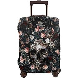 Funda para maleta de viaje con diseño de calavera y flores, de 26 a 28 pulgadas